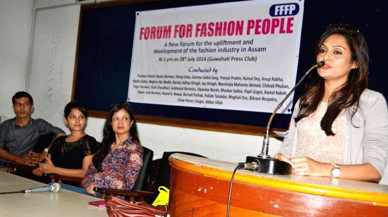 Fashion designer Meghna Rai Medhi addressing a press conference in Guwahati on July 28, 2014.