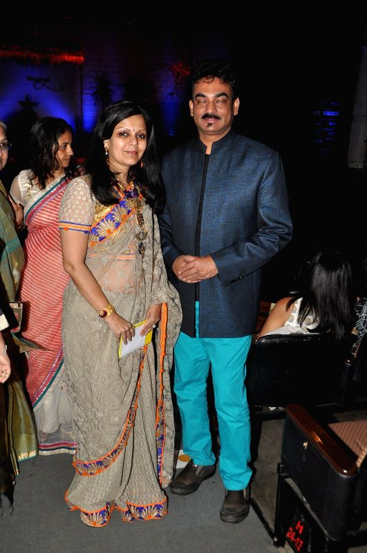 Fashion designer Wendell Rodricks with Aradhana Somani, Director, B D SOmani Institute of Art and Fashion Technology during the Resort Rampage- Silhouettes 2014, annual fashion show organised by the .