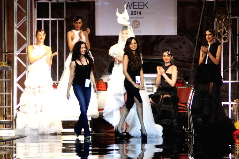 Fashion designers Gauri and Nainika during  `BMW India Bridal Fashion Week 2014` in New Delhi on Aug 7, 2014.