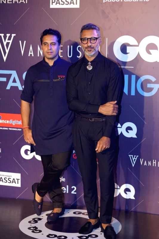 Fashion designers Shantanu and Nikhil during Van Heusen + GQ Fashion Nights 2017 in Mumbai on Nov 11, 2017.