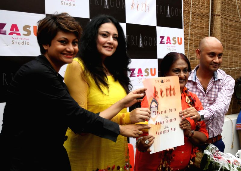 Fashion designers Sharbari Dutta , Agnimitra Paul and Arnab Sengupta during inauguration of `Kriti` in Kolkata on Aug 21, 2014.