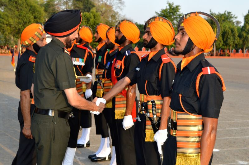 General Officer Commanding of Vajra Corps Lt Gen NPS Hira during the passing out parade of 210 Light Infantry at Sikh Light Infantry Regimental Centre, Fatehgarh, Uttar Pradesh on April 8, ...