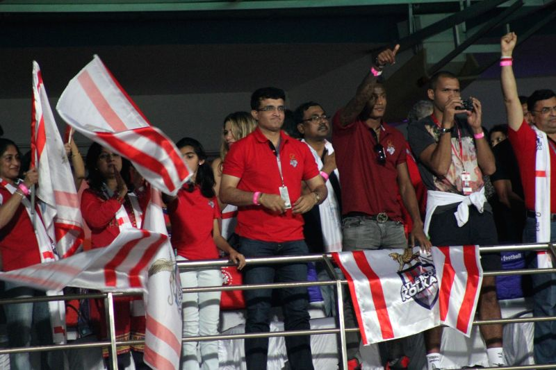 Atletico de Kolkata co-owner Sourav Ganguly celebrates after his team won the ISL semi-final match against FC Goa at Jawaharlal Nehru Stadium in Fatorda, Goa on Dec 17, 2014. Atletico de ... - Sourav Ganguly
