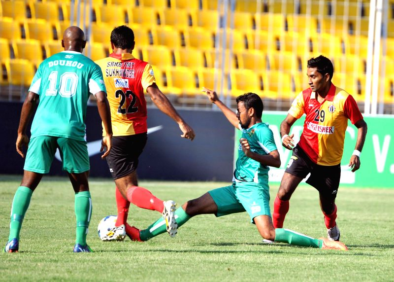 Players in action during a I-League 2015 match between Salgaocar FC and East Bengal at Nehru Stadium in Fatorda, Goa,  on Feb. 7, 2015. Salgaocar FC won. Score: 3-1.