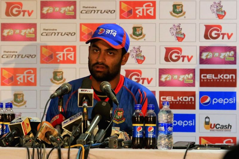 Fatullah (Bangladesh): Bangladesh cricketer Tamim Iqbal during a press conference at Khan Shaheb Osman Ali Stadium in Fatullah, Bangladesh on June 13, 2015.
