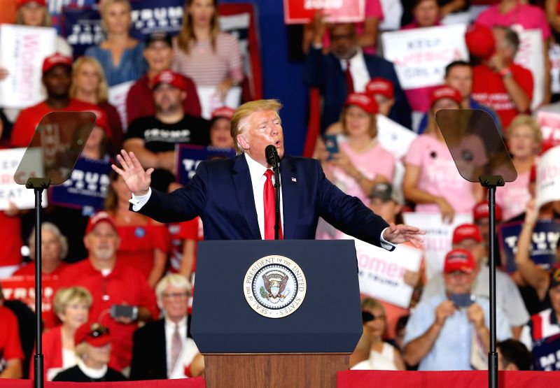 FAYETTEVILLE (U.S.), Sept. 10, 2019 (Xinhua) -- U.S. President Donald Trump participates in a campaign rally in Fayetteville, North Carolina, the United States, on Sept. 9, 2019. (Xinhua/Hu Yousong/IANS)