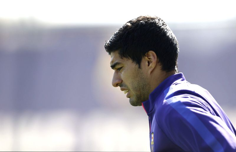 FC Barcelona's Uruguayan player Luis Suarez, during a training session at Joan Gamper sports city in Barcelona, northeastern Spain, 10 April 2015. FC Barcelona will face Sevilla in a Spanish Primera ...