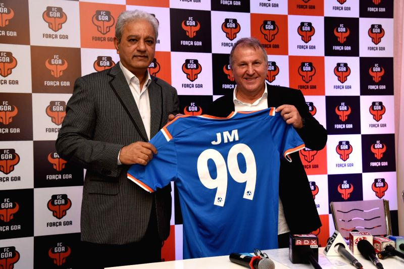 FC Goa head coach Zico and co owner Jaidev Mody during a press conference in Nerul, Goa on Aug 4, 2016.