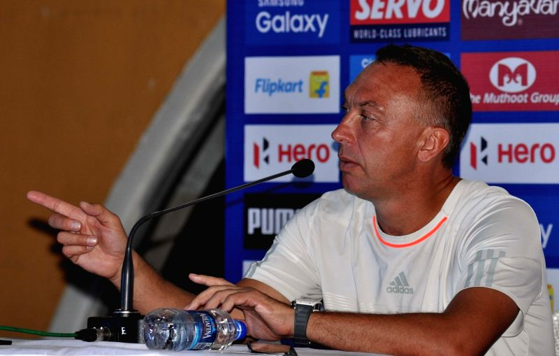 FC Pune City Head Coach David Platt addresses a pre-match press conference in Kolkata, on Nov 26, 2015.