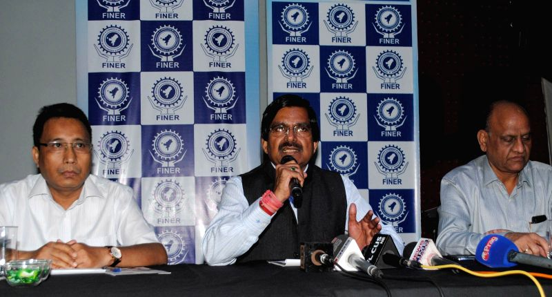 Federation of Industry & Commerce of North Eastern Region (FINER)  Chairman R.S. Joshi talks to the press regarding General Budget 2014-15 in Guwahati on July 10, 2014. - S. Joshi