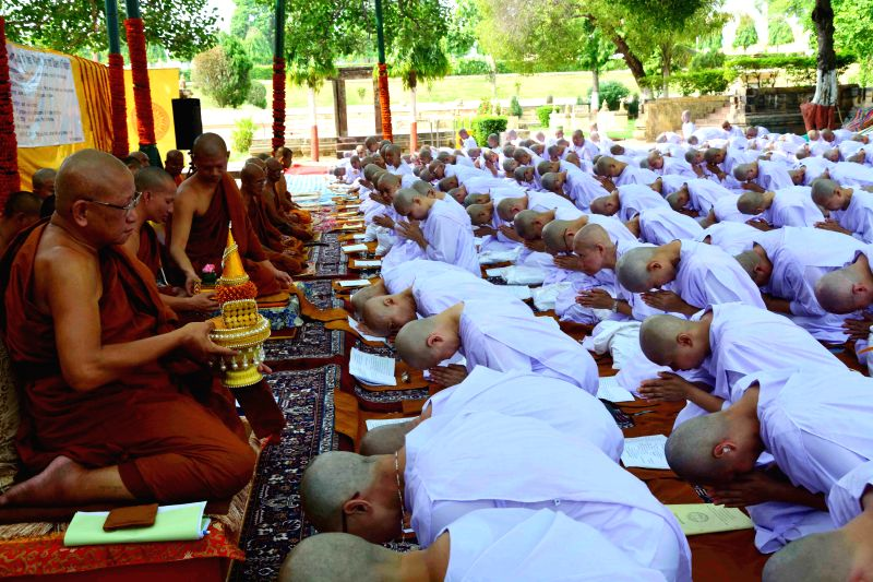 Female members of Thailand army get ordinated as Buddhist nun at Bodhgaya Mahabodhi temple on June 28, 2014.