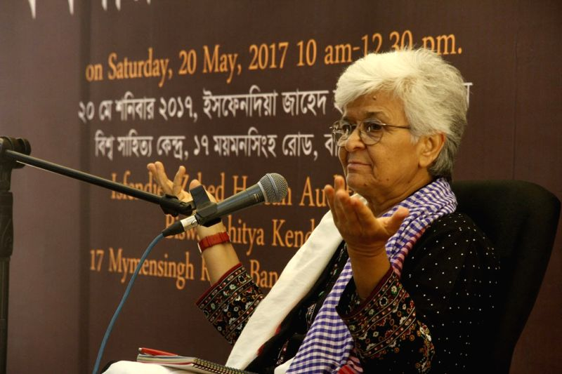 Feminist activist Kamla Bhasin addresses during a programme at the Biswa Sahitya Kendra in Dhaka on May 20, 2017.