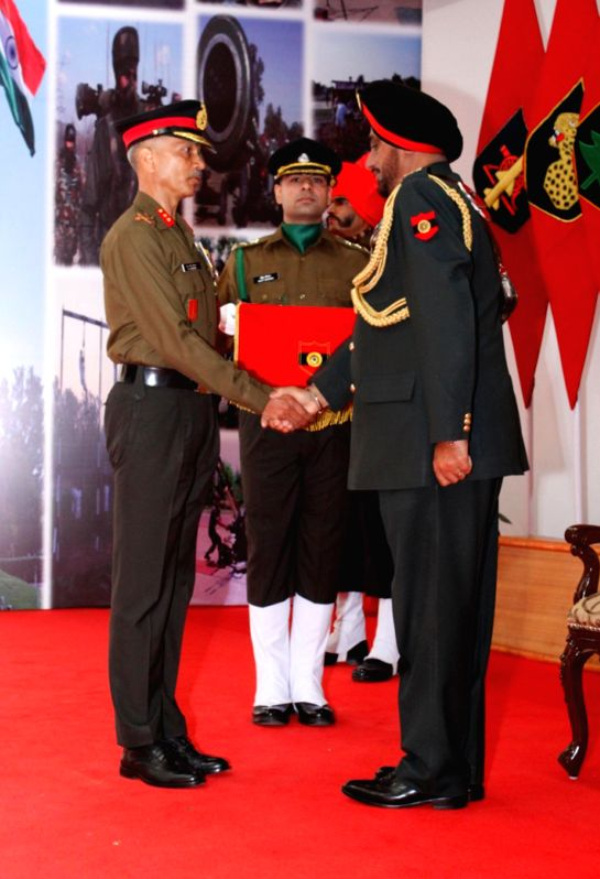 Ferozepur Cantt: Lieutenant General KJ Singh, AVSM (BAR) General Officer Commanding-in-Chief Western Command, during and award ceremony to present Gallantry and Distinguished Service awards for the ...