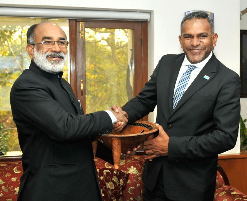 Fijian Minister for Industry and Tourism Faiyaz Koya calls on Union Tourism Minister Alphons Kannanthanam in New Delhi on Feb 1, 2018. - Alphons Kannanthanam