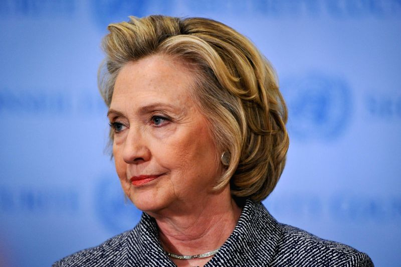 File photo taken on March 10, 2015 shows former U.S. Secretary of State Hillary Clinton addresses the press after attending the annual Women's Empowerment Principles event at the UN headquarters in ...