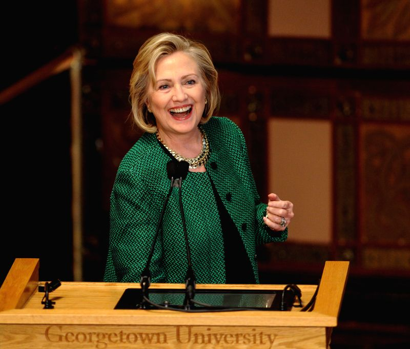 "File photo taken on Oct. 30, 2014 shows U.S. former Secretary of State Hillary Clinton gives an opening remark before a discussion on ""The Power of Women's Economic Participation"" at ..."