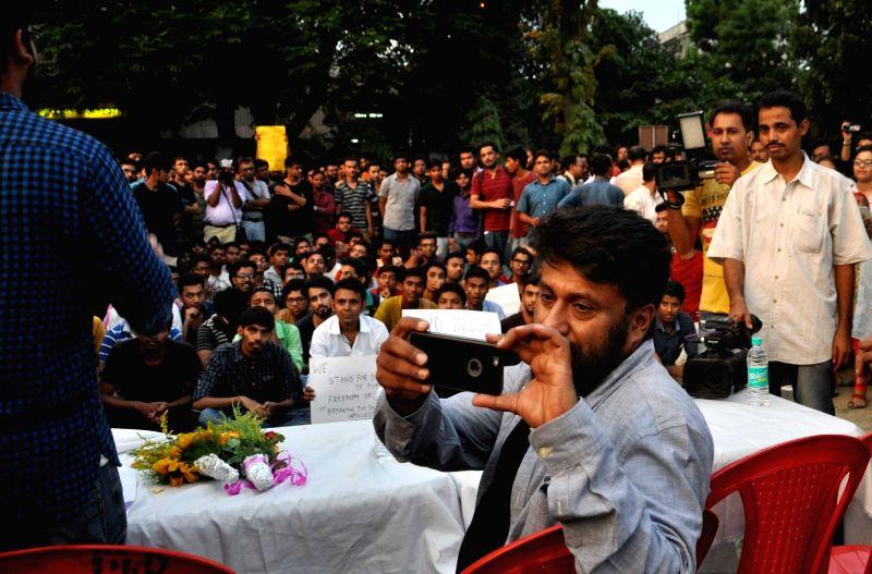Film director of 'Buddha In A Traffic Jam', Vivek Agnihotri during his film screening at Jadavpore University campus in Kolkata on May 6, 2016.