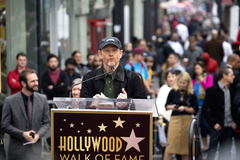Film director Ron Howard speaks on the Hollywood Walk of Fame in Hollywood, California, Dec. 10, 2015. Howard received the 2,568th star on the Hollywood walk of ...