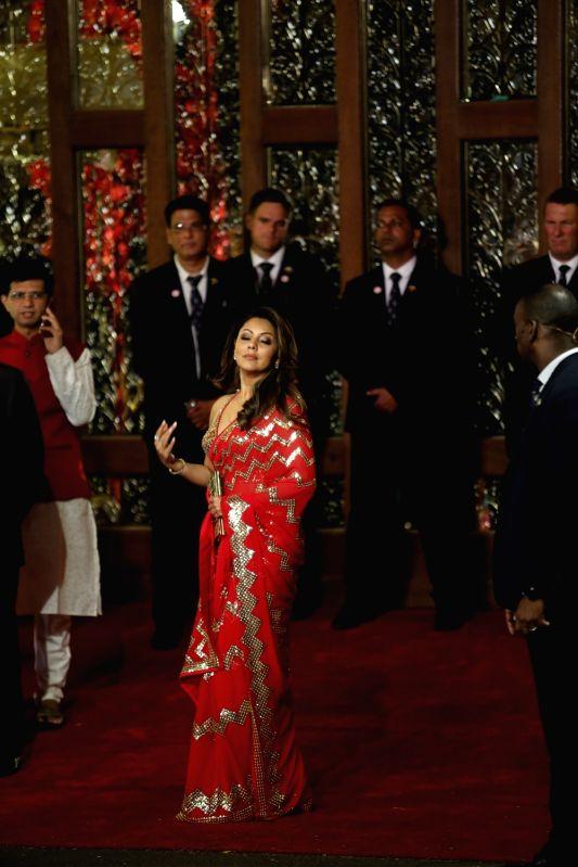 Film producer Gauri Khan at the wedding ceremony of industrialist Mukesh Ambani's daughter Isha Ambani and Anand Piramal at Antilia in Mumbai on Dec 12, 2018. - Khan, Mukesh Ambani and Isha Ambani