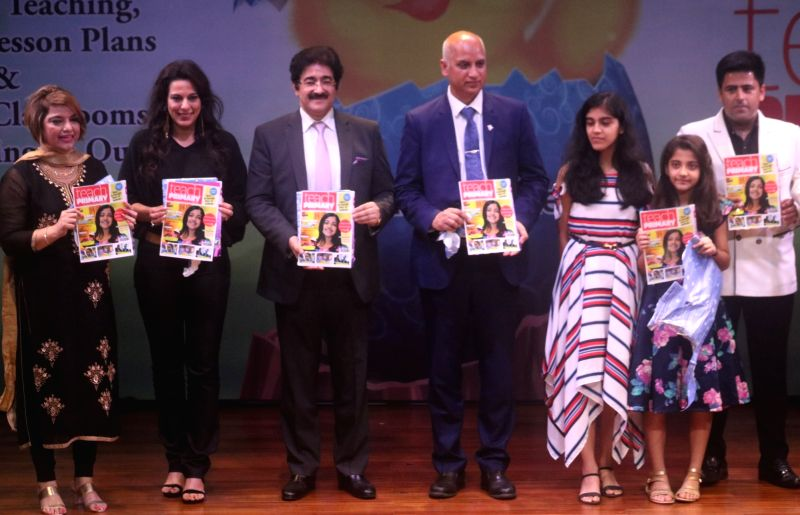 """Film Producer Sandeep Marwah, Economies narrator (Europe) Deepak Narwal with Teach Primary Editor Pooja Bedi during an interactive session on """"Effective Learning"""" at British Council in ..."""