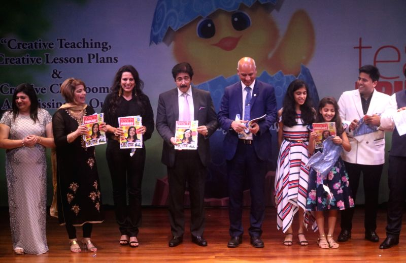 "Film Producer Sandeep Marwah, Economies narrator (Europe) Deepak Narwal with Teach Primary Editor Pooja Bedi during an interactive session on ""Effective Learning"" at British Council in ..."