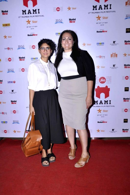 Filmmaker and MAMI Chairperson Kiran Rao (L) with Charity Tooze, consultant to Malala Fund, during the screening of the movie 'He Named Me Malala', at the Jio MAMI 17th Mumbai Film Festival ... - Kiran Rao