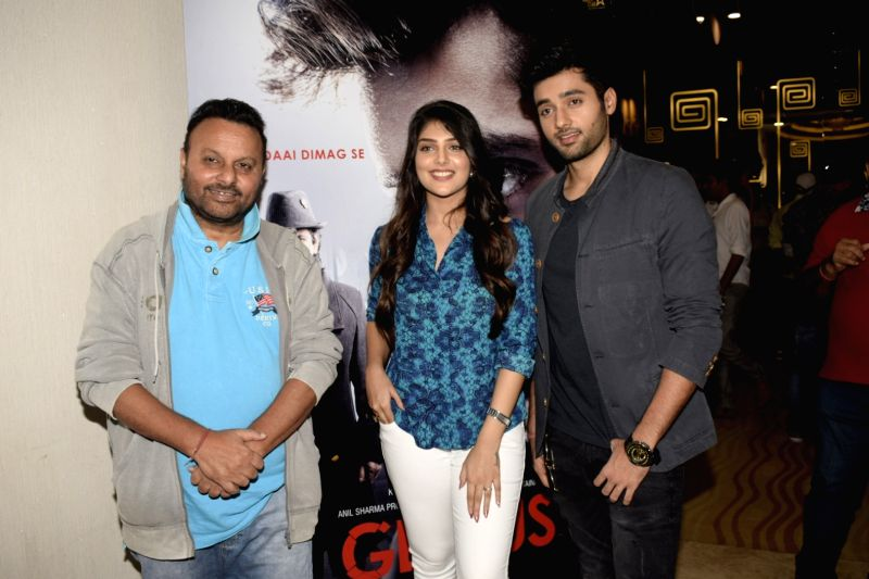 "Filmmaker Anil Sharma and actors Utkarsh Sharma, Ishitha Chauhan at the trailer launch of upcoming film ""Genius"" in Mumbai, on July 24, 2018. - Anil Sharma, Utkarsh Sharma and Ishitha Chauhan"