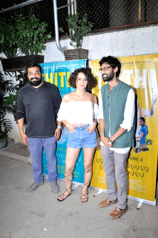 filmmaker Anurag Kashyap, actor Kangana Ranaut and South Indian filmmaker Raam Reddy and during the screening of Kannada film Thithi, in Mumbai, on May 30, 2016. - Kangana Ranaut, Anurag Kashyap and Raam Reddy