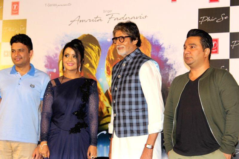 filmmaker Bhushan Kumar, actor Amitabh Bachchan with Maharashtra Chief Minister Devendra Fadnavis's wife Amruta Fadnavis and choreographer Ahmed Khan during the song launch Phir Se in Mumbai, ... - Amitabh Bachchan, Bhushan Kumar and Ahmed Khan