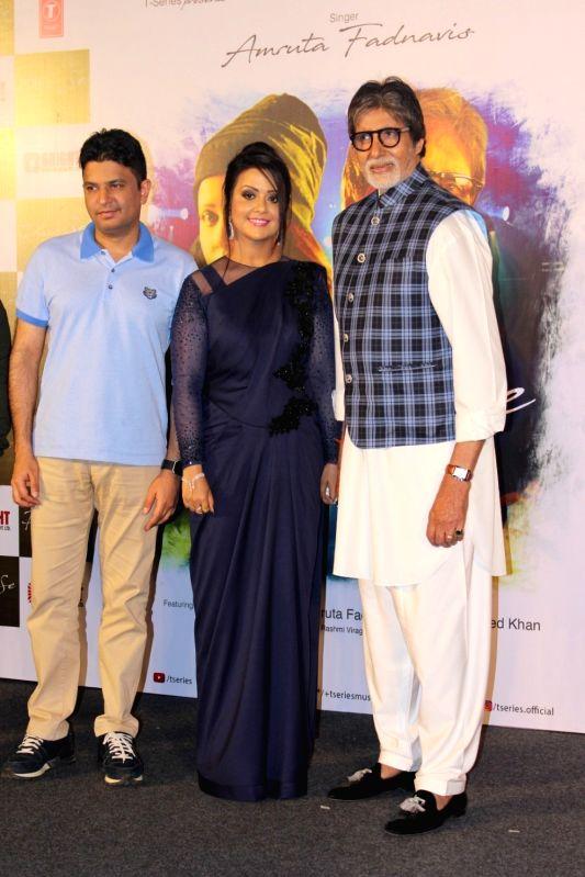 filmmaker Bhushan Kumar, actor Amitabh Bachchan with Maharashtra Chief Minister Devendra Fadnavis's wife Amruta Fadnavis during the song launch Phir Se in Mumbai, on May 30, 2017. - Amitabh Bachchan and Bhushan Kumar