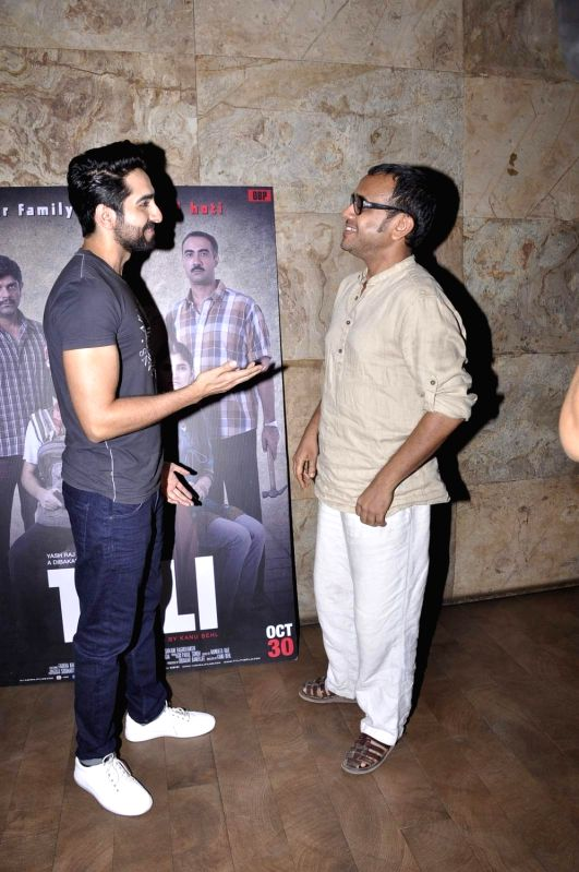 Filmmaker Dibakar Banerjee and actor Ayushman Khurana during the screening of film Titli, in Mumbai, on Oct 27, 2015. - Dibakar Banerjee