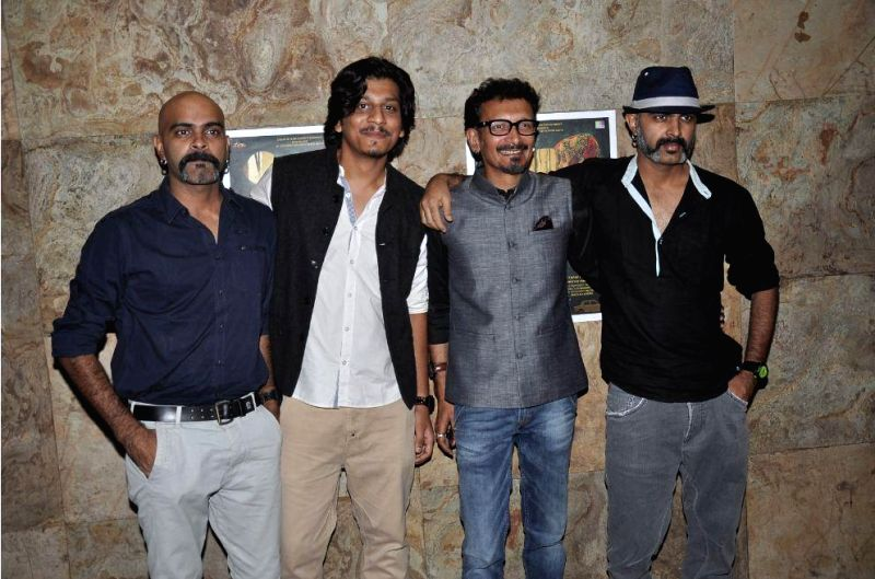 Filmmaker Faraz Ali actors Raghu Ram and Rajiv Laxman and filmmaker Abbas Syed during the screening of Short film Makhmal in Mumbai on July 11, 2014. - Faraz Ali, Raghu Ram and Rajiv Laxman