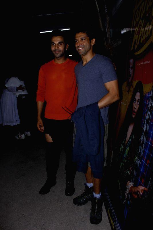 "Filmmaker Farhan Akhtar and actor Rajkummar Rao during screening of upcoming film ""Fanney Khan"" in Mumbai, on Aug 2, 2018. - Farhan Akhtar, Rajkummar Rao and Fanney Khan"