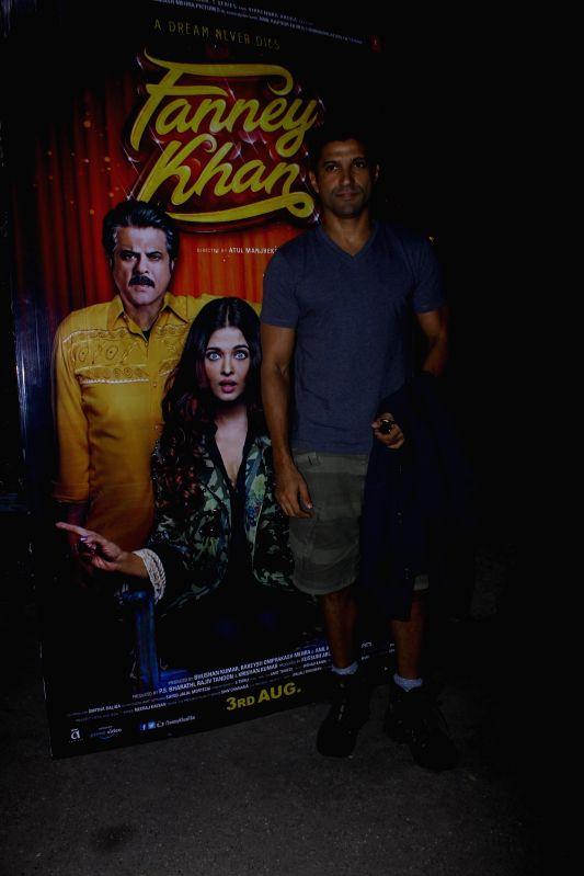 "Filmmaker Farhan Akhtar during screening of upcoming film ""Fanney Khan"" in Mumbai, on Aug 2, 2018. - Farhan Akhtar and Fanney Khan"