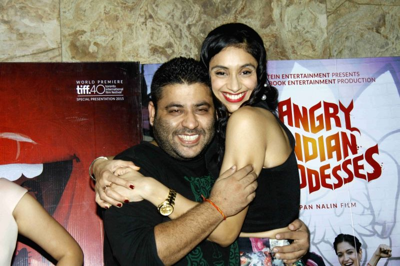Filmmaker Gaurav Dhingra and actor Pavleen Gujral during the screening of film Angry Indian Goddesses in Mumbai  Nov  30, 2015 - Gaurav Dhingra