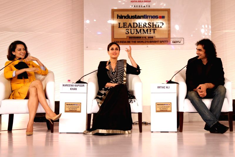 Filmmaker Imtiaz Ali with actresses Kareena Kapoor and Kangana Ranaut at the HT Summit 2015 in New Delhi, on Dec 4, 2015.