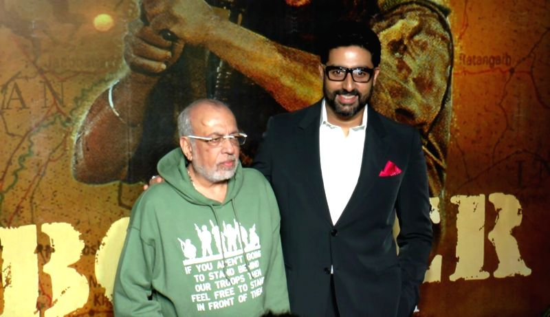 Filmmaker J P Dutta and actor Abhishek Bachchan during the celebrations 20 years completion of film Border, in Mumbai in Mumbai on June 11, 2017. - J P Dutta and Abhishek Bachchan