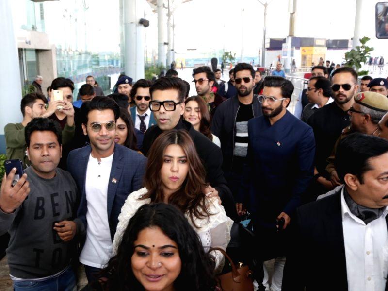 Filmmaker Karan Johar, Rohit Shetty and Ekta Kapoor along with actors Ranveer Singh, Sidharth Malhotra,  Alia Bhatt, Ranbir Kapoor, Vikky Kaushal, Rajkummar Rao and Varun Dhawan arrive at ... - Karan Johar, Ranveer Singh, Sidharth Malhotra, Alia Bhatt, Ranbir Kapoor, Vikky Kaushal, Rajkummar Rao, Varun Dhawan, Rohit Shetty and Ekta Kapoor
