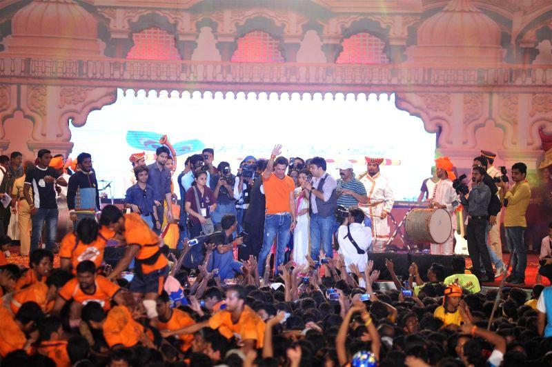 Filmmaker Madhur Bhandarka during Shri Sankalp Pratishthan`s Dahi Handi celebrations in Mumbai on Aug. 18, 2014. - Madhur Bhandarka