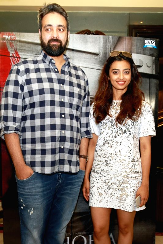 "Filmmaker Pawan Kirpalani with actress Radhika Apte during a press conference regarding their upcoming film ""Phobia"" in New Delhi, on May 24, 2016. - Pawan Kirpalani"