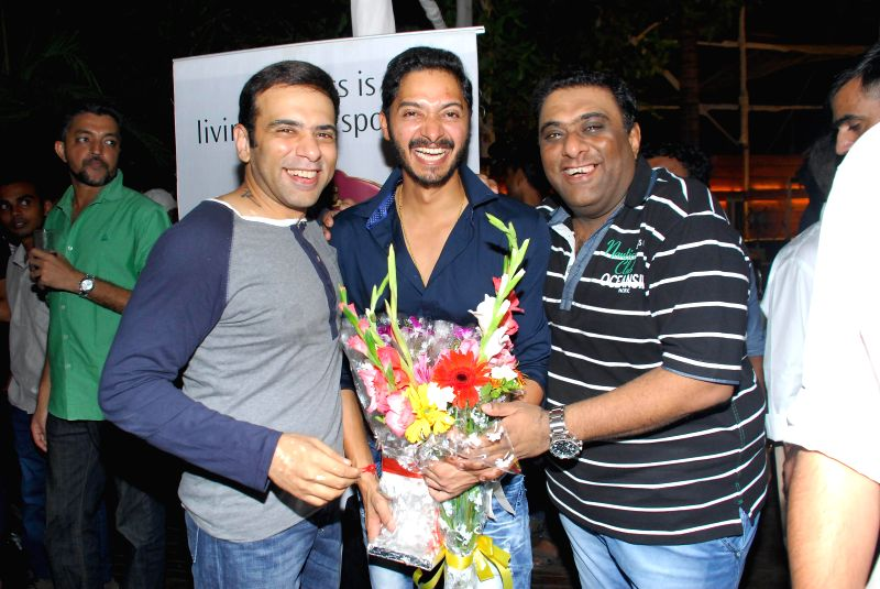 Filmmaker`s Sajid, Farhad and Actor Shreyas during the success party of Marathi film Poshter Boyz in Mumbai, on Aug 19, 2014. - Shreyas