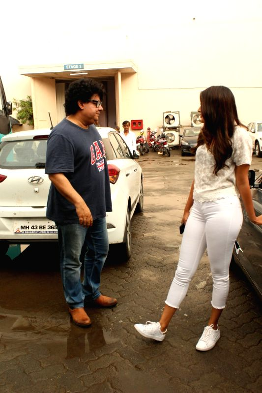 Filmmaker Sajid Khan seen with actress Pooja Hegde at Mehboob Studio in Bandra, Mumbai on June 9, 2018. - Sajid Khan