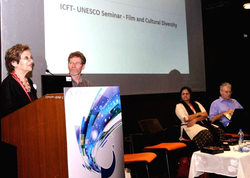 Filmmaker Sharada Ramanathan with Philippe Queau (France), Charles Vallerand (Canada) at the ICFT-UNESCO Seminar on 'Film and Cultural Diversity', during the 46th International Film ... - Sharada Ramanathan