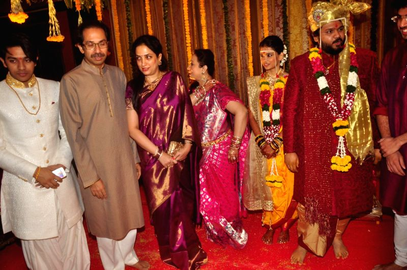 Filmmaker Smita Thackeray during her son Rahul Thackeray wedding with Aditi Redkar in Mumbai, on February 9, 2015.