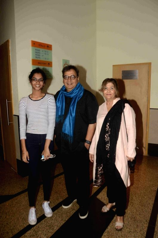 filmmaker Subhash Ghai along with his wife Mukta Ghai and daughter Muskaan Ghai during the preview of play Chakravyuh in Mumbai, on June 11, 2017.