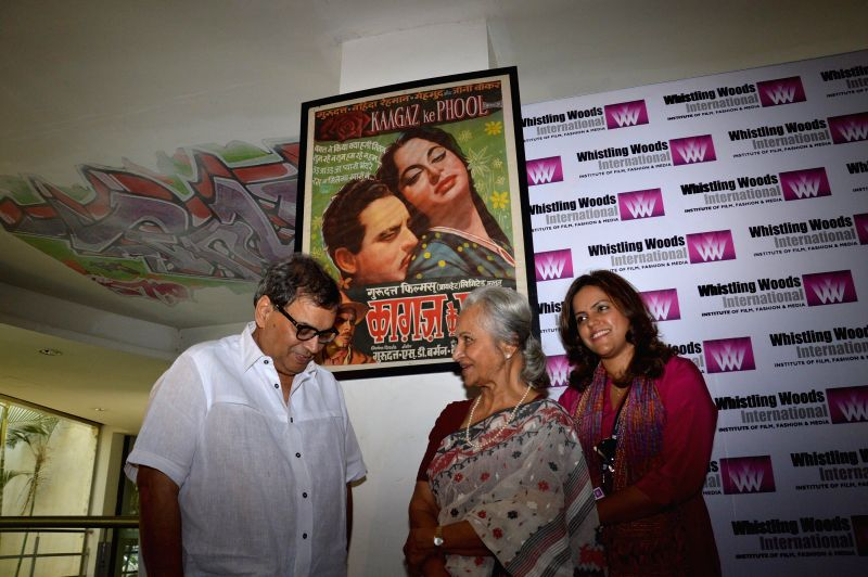 Filmmaker Subhash Ghai and actor Waheeda Rehman during Whistling Woods event at Filmcity in Mumbai on May 10, 2014. - Subhash Ghai