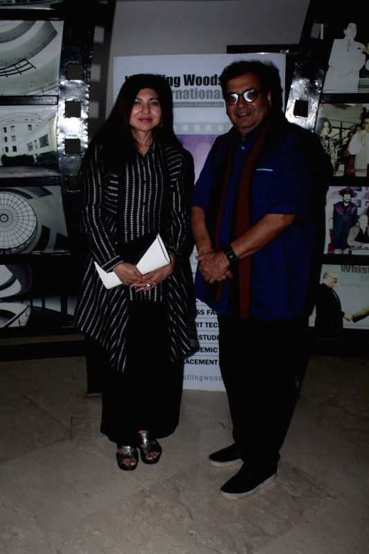 Filmmaker Subhash Ghai and Singer Alka Yagnik at Whistling Woods International Institute in Mumbai on April 19, 2017. - Subhash Ghai