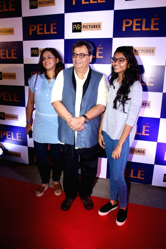 Filmmaker Subhash Ghai with daughter Meghna Ghai Puri during the screening of Hollywood film Pele: Birth of a Legend, in Mumbai, on May 9, 2016. - Subhash Ghai