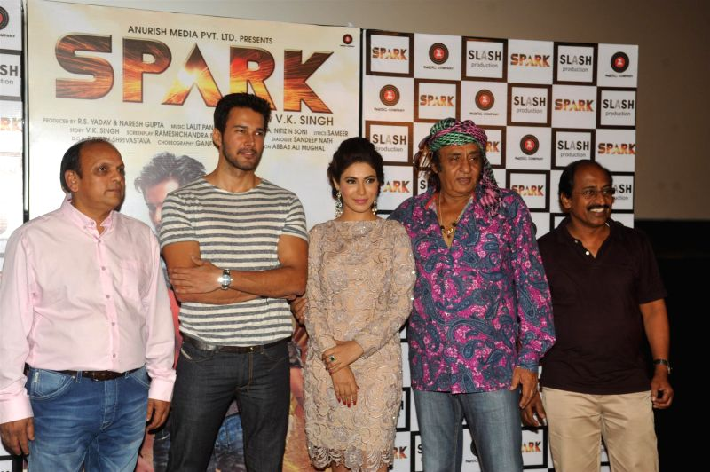 Filmmaker V K Singh, actors Rajneesh Duggal, Mansha Bahl and Ranjeet during the trailer launch of film Spark in Mumbai on July 21, 2014. - V K Singh, Rajneesh Duggal, Mansha Bahl and Ranjeet