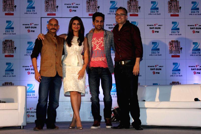 Filmmaker Victor Acharya, actors Parineeti Chopra and Ayushmann Khurrana during India's Best Cinestars Ki Khoj hosted by Zee TV in Mumbai on June 26, 2014. - Victor Acharya, Parineeti Chopra and Ayushmann Khurrana